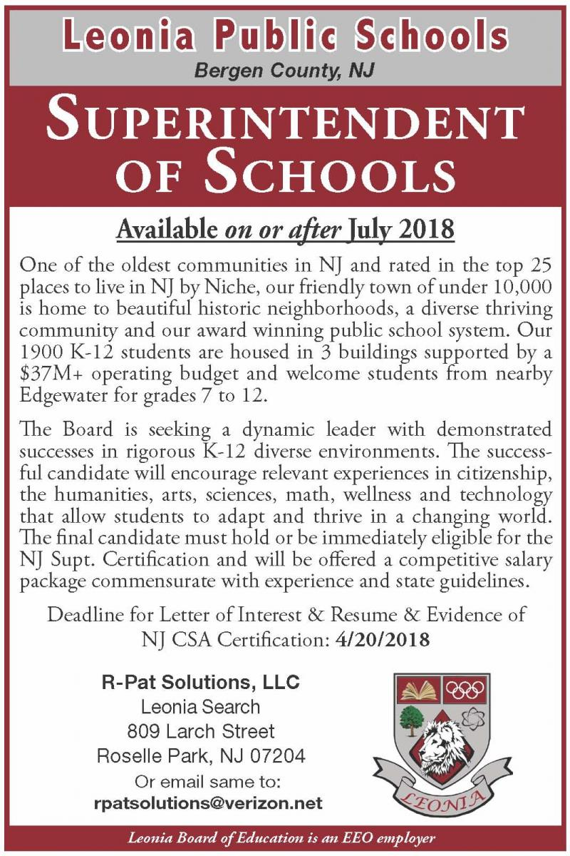 R pat solutions llc current openings to apply email a cover superintendent of schools leonia public schools leonia new jersey closing date april 20 1betcityfo Images